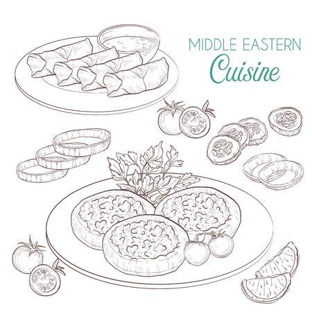 Middle Eastern cuisine, arabian dishes. Sfiha Dolma
