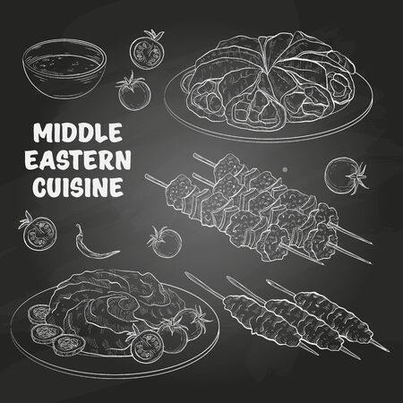 Middle Eastern cuisine, arabian dishes. Hummus, Kebab, Shish Tawook, Kataef. Menu design on a dark background