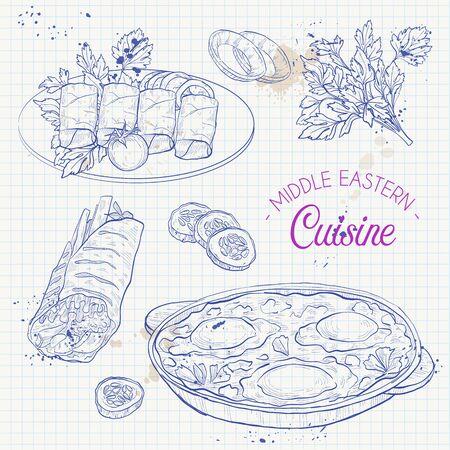 Middle Eastern cuisine, arabian dishes. Shakshuka, Dolma, Shawarma menu design on a notebook page