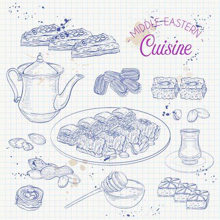 Middle Eastern sweets and tea, baklava, basbousa, balah el sham, birds nest, pistachio on a notebook