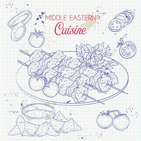 Middle Eastern cuisine, arabian dishes. Shish Tawook, onion, tomatoes menu design on a notebook page