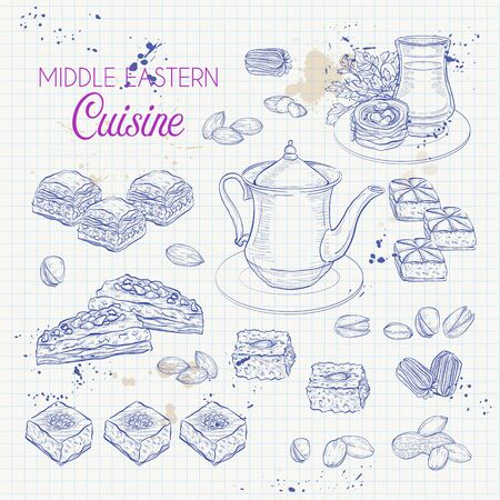 Middle Eastern sweets and tea, baklava, basbousa, balah el sham, birds nest, knafeh, macroud, pistachio on a notebook page Illustration