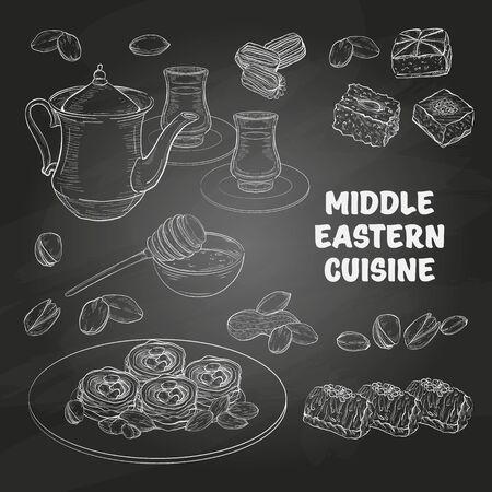 Middle Eastern sweets and tea, baklava, balah el sham, birds nest, knafeh, macroud, nuts on a dark background Illusztráció