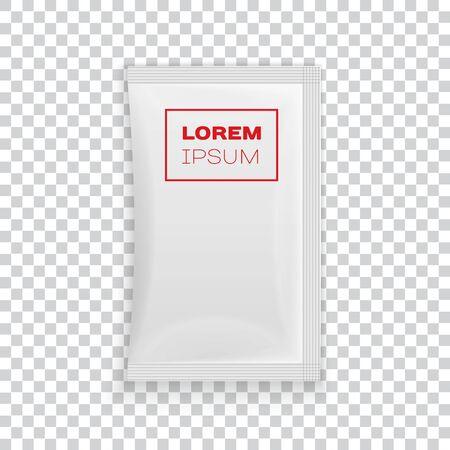 Blank white plastic sachet On Transparent Background Ready For Your Design. Vector EPS10 Illusztráció