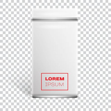 White square tin packaging On Transparent Background. Tea, coffee, dry products