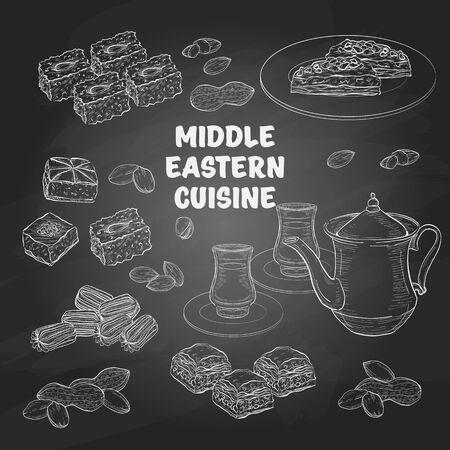 Middle Eastern sweets and tea, baklava, basbousa, balah el sham, birds nest, pistachio on a dark background Векторная Иллюстрация