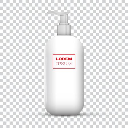 Plastic Clean White Bottle With Dispenser Pump. Shower Gel, Liquid Soap, Lotion, Cream, Shampoo, Bath Foam. Ready For Your Design. Illustration Isolated On Transparent Background