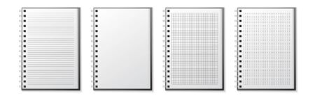 Realistic notebook lined and dots paper page on a white background Illusztráció