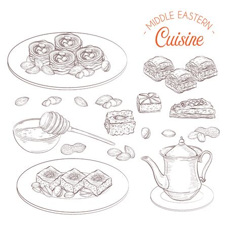 Middle Eastern sweets and tea, baklava, basbousa, balah el sham, birds nest, knafeh, macroud, nuts