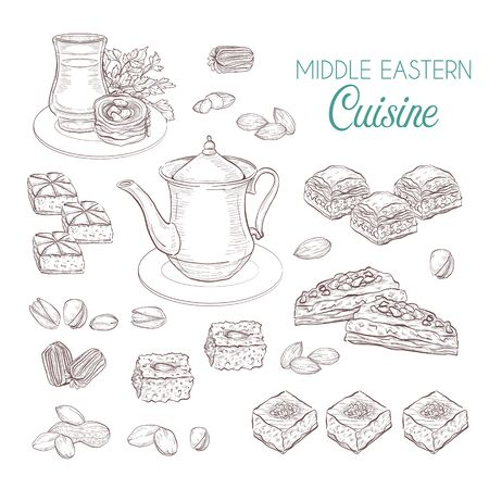 Middle Eastern sweets and tea, baklava, basbousa, balah el sham, birds nest, knafeh, macroud, pistachio