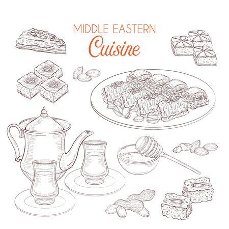 Middle Eastern sweets and tea, baklava, basbousa, balah el sham, birds nest, knafeh, macroud
