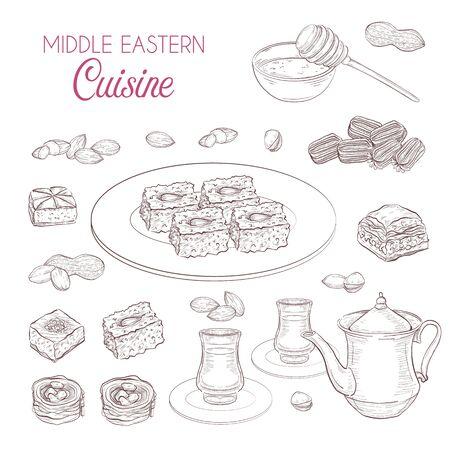Middle Eastern sweets and tea, baklava, basbousa, balah el sham, birds nest, knafeh, nuts