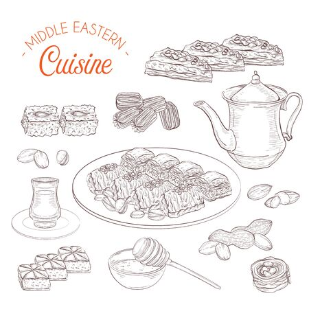 Middle Eastern sweets and tea, baklava, basbousa, balah el sham, birds nest, knafeh, pistachio