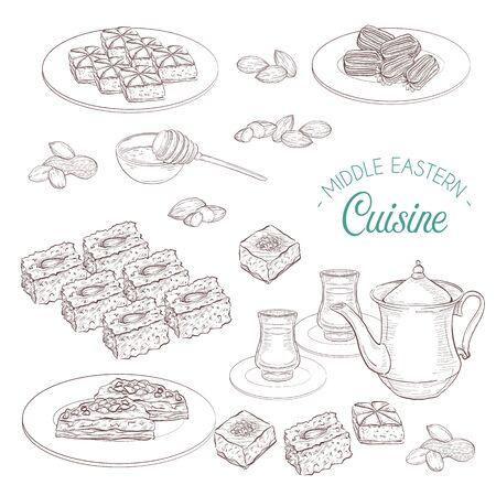 Middle Eastern sweets and tea, baklava, basbousa, balah el sham, birds nest, knafeh, macroud, pistachio on a dark background