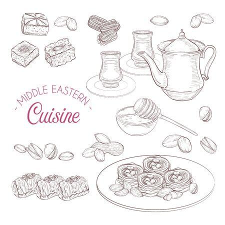 Middle Eastern sweets and tea, baklava, balah el sham, birds nest, knafeh, macroud, nuts Illusztráció