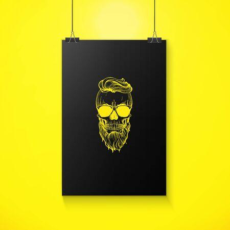 Angry skull with hairstyle, beard and sunglasses, line art Illusztráció