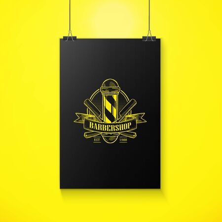 barbershop emblem with pole, a dangerous razor and a ribbon