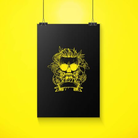 Angry skull with hairstyle, moustaches, beard and sunglasses with flowers and ribbon, line art Illusztráció