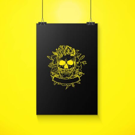 Angry skull with hairstyle and moustaches with flowers and ribbon, line art