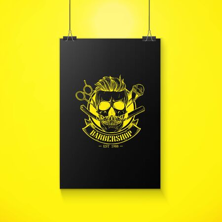 Barbershop   angry sticker with skull Çizim