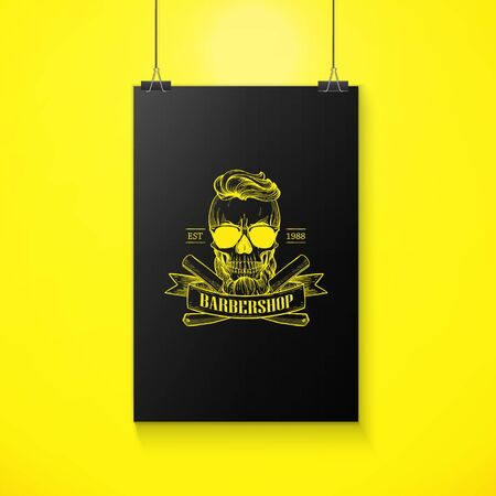 Barbershop  angry sticker with skull Illusztráció