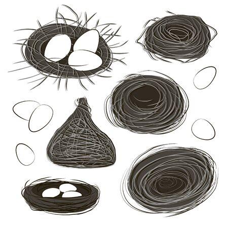 Nest set and hatching chicken. Illusztráció