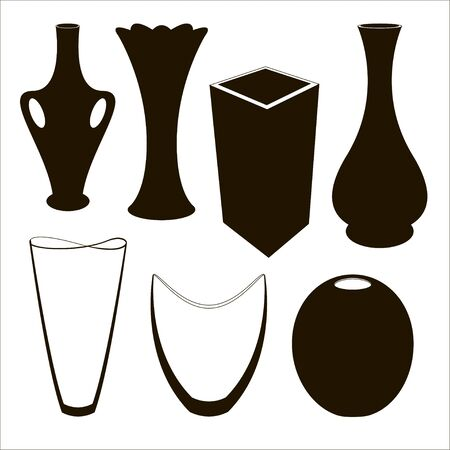 Vase set. Various forms of vases. Home interior decoration. Çizim