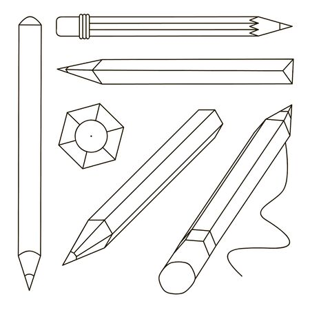 Set of stylized realistic pens and pencils isolated on white, vector illustration Illusztráció