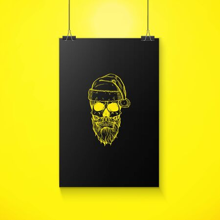 Line art, handdrawn skull of Santa Claus with mustache, beard and hat