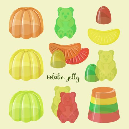 Set of beautiful realistic jelly assortement. Sweet candy food. Vector illustration.