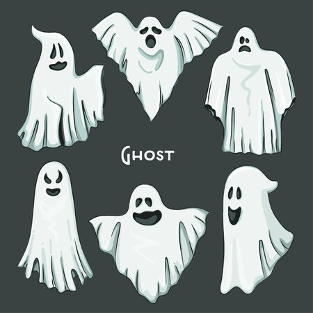 Whisper Ghost hand draw set. Ghost character Costume evil or Character creepy funny cute. Çizim