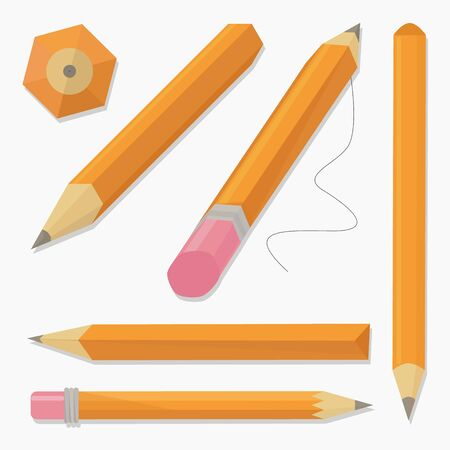 Set of stylized realistic pens and pencils isolated on white, vector illustration Çizim