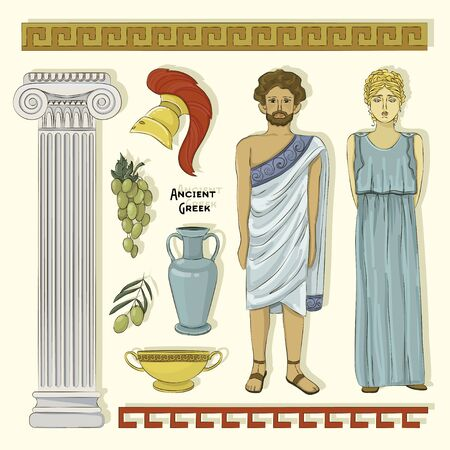 Greek Landmarks and Culture. Athens in Greece illustration. Traditional costume.