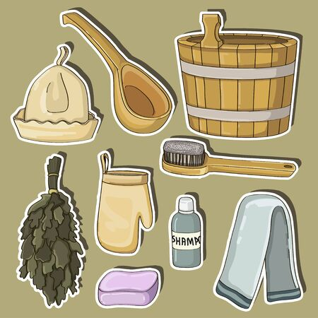 Bath house sauna hot water spa thermal steam healthcare concept bathroom broom and bucket vector illustration