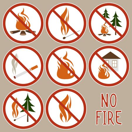 Icon forbidding fire, making a furnace, and burning something. Round fire ban signs o prevent making fire. Warning danger of igniting fire in a forest. Çizim