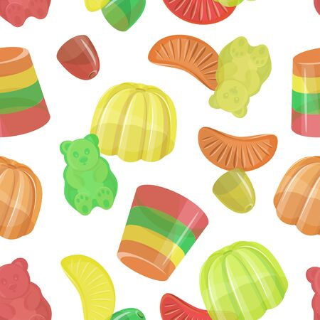 Pattern of beautiful realistic jelly assortement. Sweet candy food. Vector illustration.