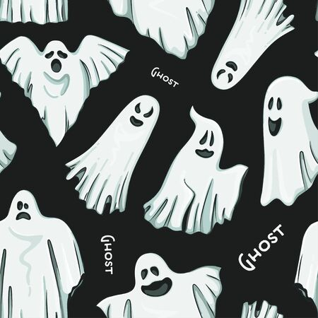 Whisper Ghost hand draw pattern. Ghost character Costume evil or Character creepy funny cute.