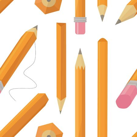 Set of stylized realistic pens and pencils isolated pattern on white, vector illustration