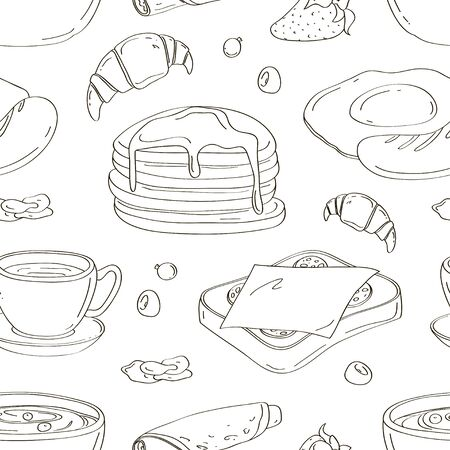 Classic breakfast cartoon pattern with pancakes, cereal, toasts and waffles Çizim