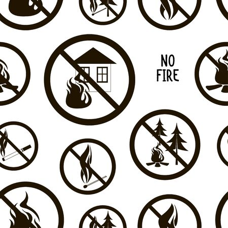Pattern forbidding fire, making a furnace, and burning something. Round fire ban signs o prevent making fire. Warning danger of igniting fire in a forest.