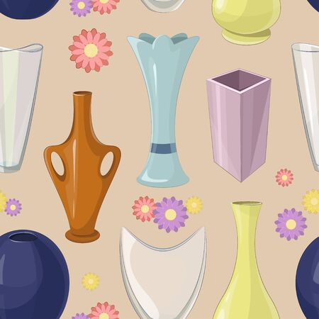 Vase pattern. Various forms of vases. Home interior decoration. Vector icon collection.