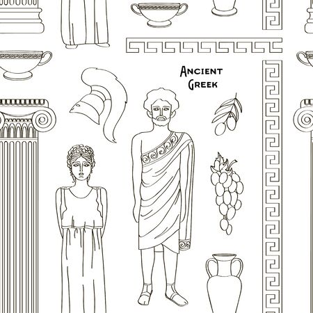 Ancient Greek traditional costumes set pattern Çizim