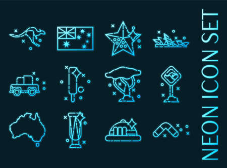 Set of Australia blue glowing neon icons