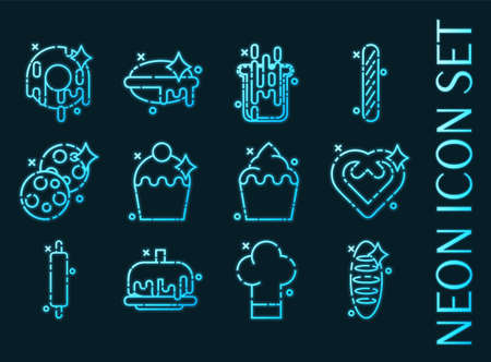 Set of Bakery blue glowing neon icons.
