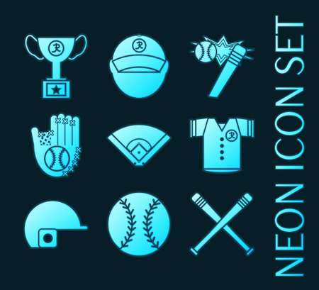 Set of Baseball glowing neon style icons