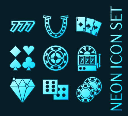 Set of Casino glowing neon style icons
