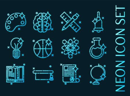 Set of Education blue glowing neon icons. Vecteurs