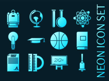 Set of Education blue glowing neon icons.