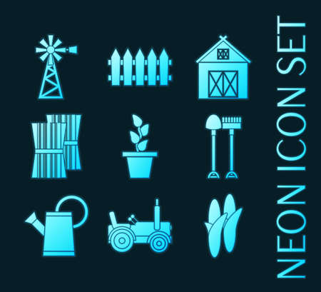Set of Farming blue glowing neon icons 일러스트