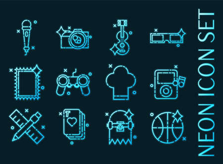 Hobby set icons. Blue glowing neon style.